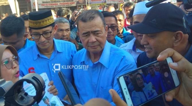 Sandiaga Uno dalam kunjungannya ke Padang setelah Pilpres beberapa waktu lalu
