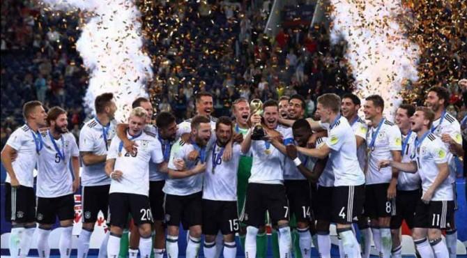 Selebrasi para pemain Jerman usai menjadi juara di ajang Piala Konfederasi 2017.