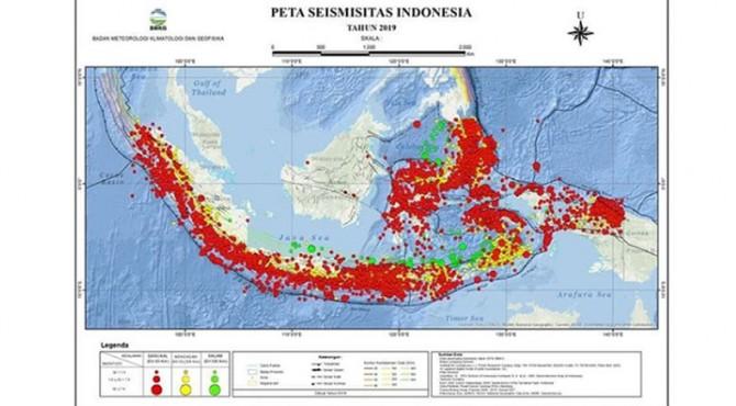 Peta seismisitas Indonesia 2019