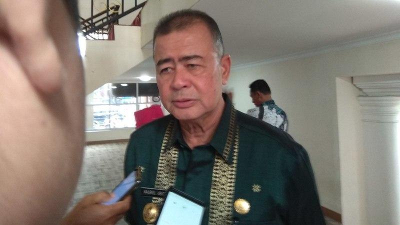 Wakil Gubernur Sumatera Barat Nasrul Abit usia membuka rapat Bakohumas di Aula Kantor Gubernur, Kamis 21 Maret 2019