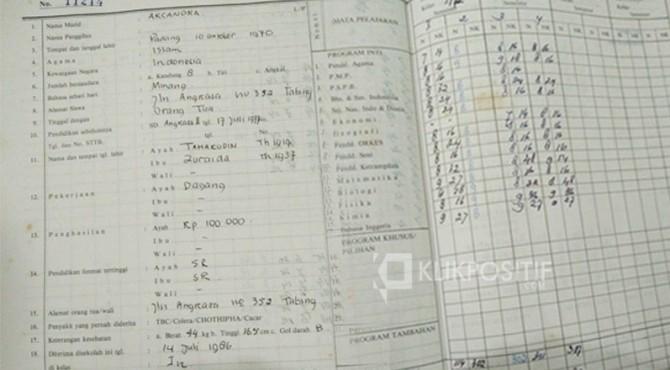 Nilai rapor dan buku induk Archandra selama di SMAN 2 Padang