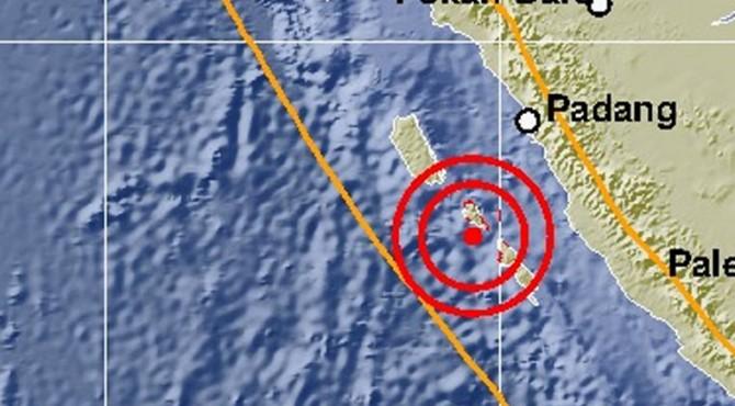 Peta lokasi gempa di Mentawai pada Selasa 22 Oktober 2019