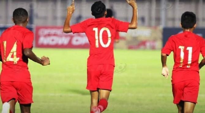 Selebrasi pemain Indonesia