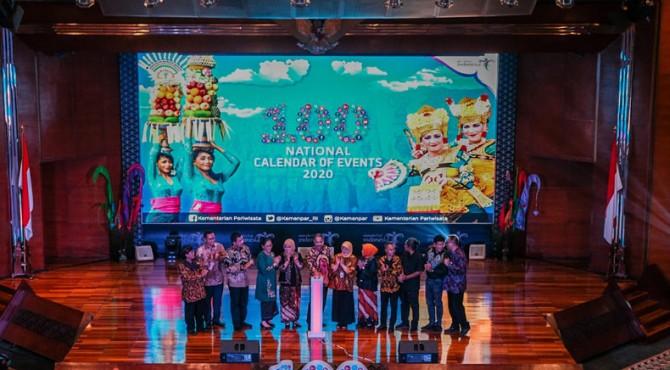 Peluncuran 100 National Calender of Event (CoE) 2020 di Balairung Soesilo Soedarman, Gedung Sapta Pesona Jakarta