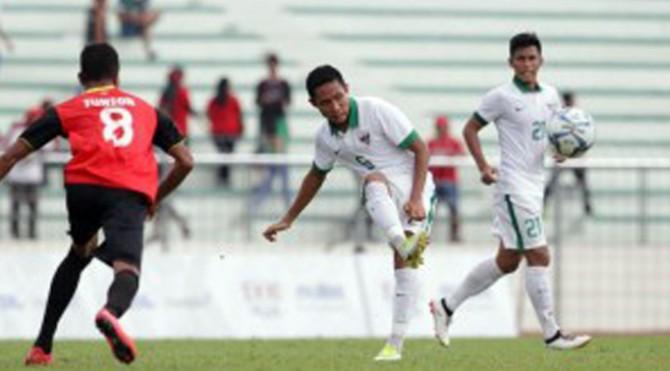 Pemain timnas Indonesia Evan Dimas saat pertandingan melawan Timor Leste di SEA Games 2017