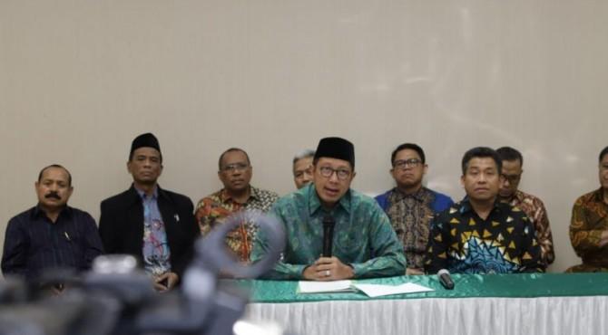 Menteri Agama Lukman Hakim Saifuddin saat memberi keterangan pers