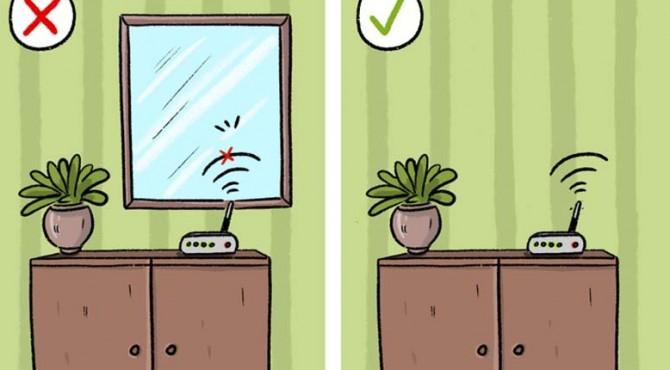 Materi yang memungkinkan kita melihat refleksi kita di cermin juga mencerminkan sinyal yang dikeluarkan oleh router. Objek ini bertindak sebagai perisai, membuat koneksi internet terpental.