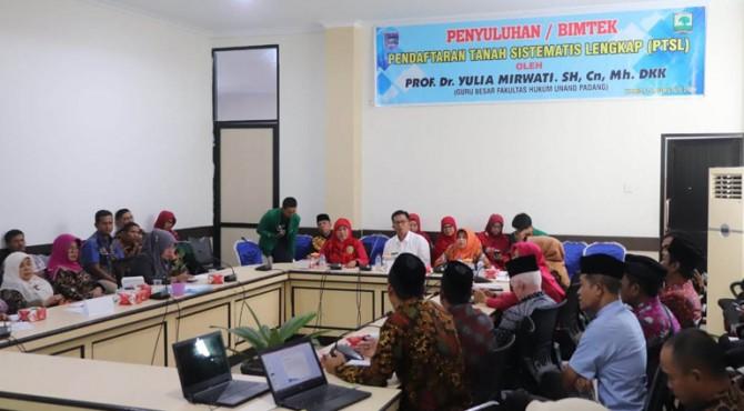 Penyuluhan Bimtek Pendaftaran Tanah Sistematis Lengkap (PTSL) di Balai Kota Payakumbuh.