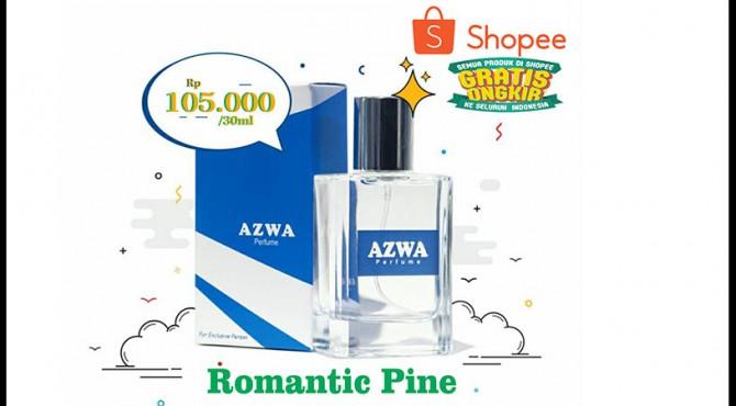 Romantic Pine tersedia di AZWA Perfume dengan boto ukuran 30ml 105.000, 50ml 175.000 dan 100ml 350.000