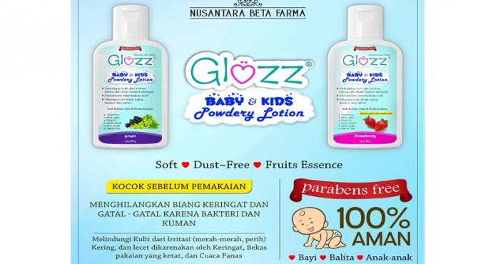 Produk GLOZZ Baby & Kids Powdery Lotion ini aman digunakan untuk bayi dan anak-anak