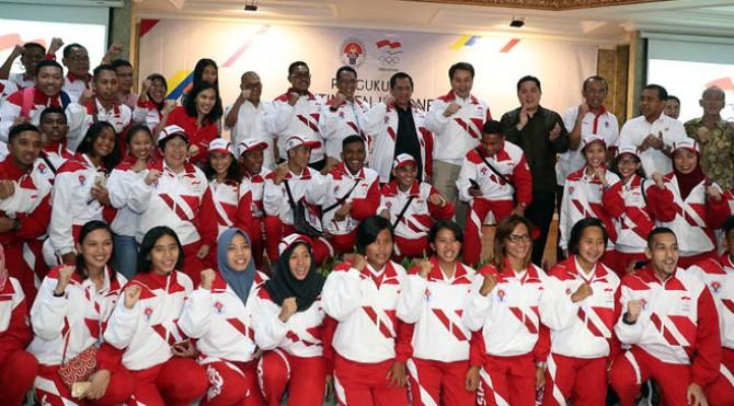 Kontingen Indonesia menuju SEA Games XXIX/2017 Kuala Lumpur, Malaysia hari Rabu (2/8) sore secara resmi dikukuhkan oleh Ketua Umum Komite Olimpiade Indonesia (KOI) Erick Thohir didampingi Sesmenpora Gatot S Dewa Broto di Auditorium Wisma Menpora, Kantor Kemenpora Senayan, Jakarta.