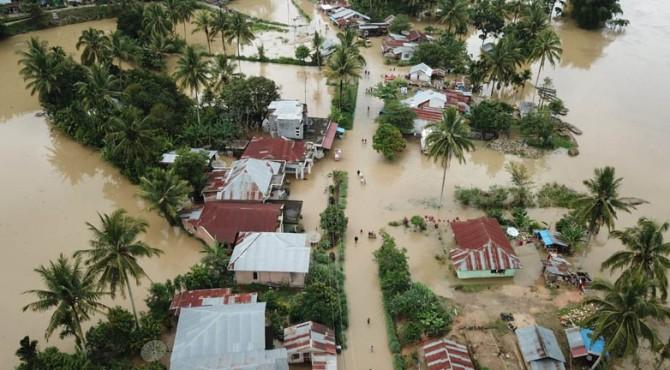 Rumah warga yang terendam banjir di Kabupaten Limapuluh Kota.