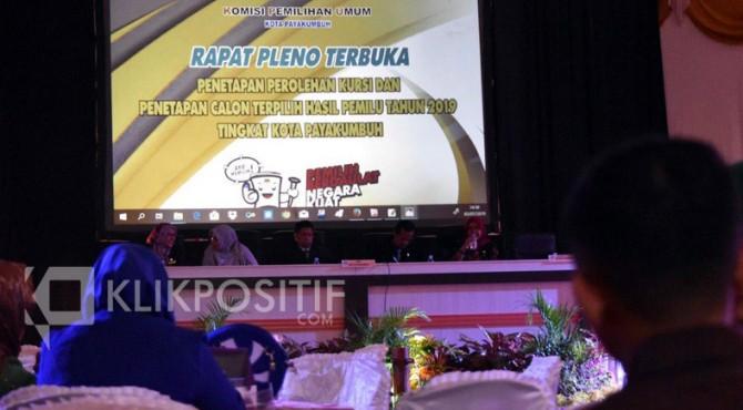 Rapat pleno terbuka penetapan perolehan kursi calon terpilih hasil Pemilu 2019 tingkat Kota Payakumbuh.