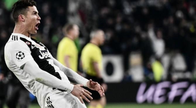 Selebrasi Ronaldo saat Juventus menjamu Atletico di laga leg kedua babak 8 besar Liga Champions