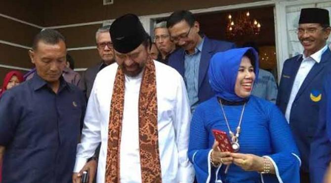 Ketua Umum Partai NasDem Surya Paloh saat berkunjung ke Sumbar
