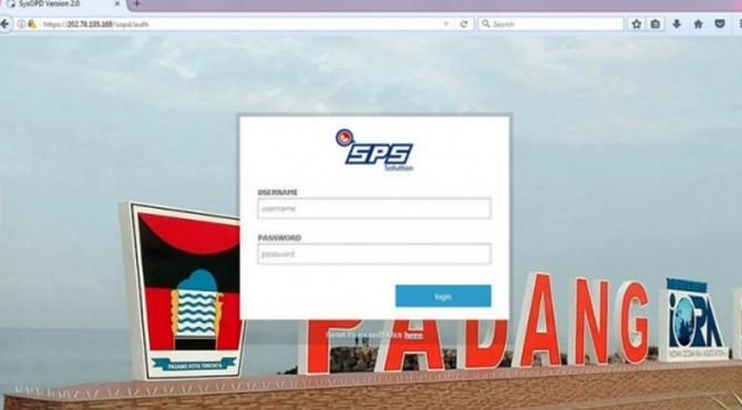 Tampilan awal laman SOPD Kota Padang/ https://202.78.195.169/sopd/