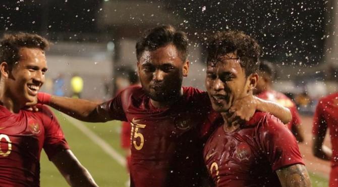 Selebrasi pemain Timnas U-23 usai mencetak gol