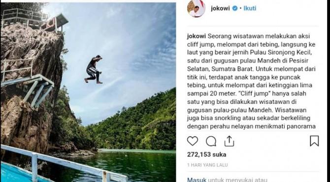 Tweet Presiden Jokowi tentang Mandeh.