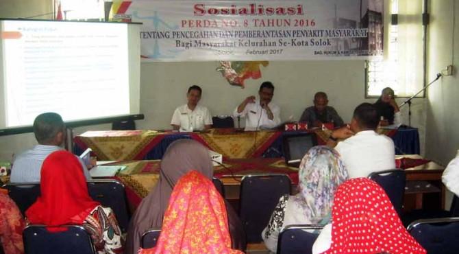 Sosialisi Perda No. 8 tahun 2016 tentang pencegahan dan pemberantasan Pekat di Kelurahan Nan Balimo Kota Solok.
