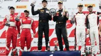 Duet pebalap tim T2 Motorsports, David Tjiptobiantoro (kiri) dan Rio Haryanto (kedua dari kiri), menempati podium kedua pada balapan atau race pertama seri kedua Blancpain GT World Challenge 2019 di Chang International Circuit, Buriram, Thailand, Sabtu (11/5).