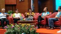 Bupati Agam Indra Catri saat menghadiri Press Conference Geopark Run Series 2020 di Kementerian Pariwisata