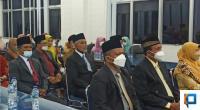 Belasan pejabat eselon III dan IV yang dilantik di ruang auditorium kantor Bupati Pasaman Barat, Selasa (14/9/2021) malam