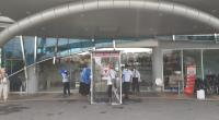 Bilik Disinfektan di pintu masuk Semen Padang Hospital