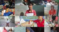Para penerima paket sembako dari para bunda soleha yang tergabung di Yayasan Gerakan Bunda Berbagi (YGBB) Pasaman Barat