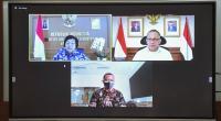 Menteri LHK Siti Nurbaya dan Kepala BRIN Laksana Tri Handoko memberikan keterangan pers