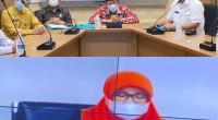 Pemberian opini WTP kepada Pemkab Agam, berlangsung di ruang Command Center Kominfo Sumbar, melalui video conference