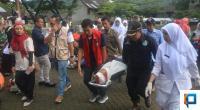 Simulasi penyelamatan korban, Pada apel Siaga Penanggulangan Bencana di Solsel, Rabu, 29 Januari 2020.