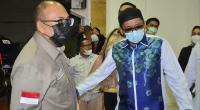 Anggota DPR RI Andre Rosiade mengunjungi Walikota Padang Hendri Septa