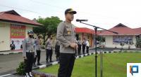 Kapolres Lima Puluh Kota AKBP Trisno Eko Santoso saat Apel Kesiapan Pengamanan Tahapan Kampanye Pilkada Serentak Tahun 2020
