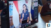 Menteri Pariwisata dan Ekonomi Kreatif, Sandiaga Salahuddin Uno saat menyampaikan pidato nya secara virtual dalam acara penobatan Tuanku Bosa Talu XV
