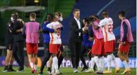 Selebrasi Julian Nagelsmann usai mengantar RB Leipzig lolo ke semifinal Liga Champions.