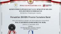 Piagam penghargaan ZIWBK yang diraih BKKBN Perwakilan Sumbar pada peringatan Hari Anti Korupsi lalu