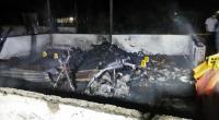 Polisi saat melakukan olah TKP dilokasi kejadian kebakaran