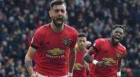 Gelandang Manchester United Bruno Fernandes merayakan golnya ke gawang Watford dalam lanjutan Liga Inggris di Old Trafford