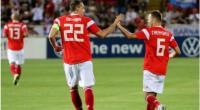 Winger Timnas Rusia, Denis Cheryshev (kanan) merayakan golnya ke gawang Siprus bersama penyerang Artem Dzyuba, dalam laga lanjutan Kualifikasi Piala Eropa 2020 di GSP Stadium, Nicosia, Senin (14/10/2019) dini hari WIB.