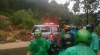 Kondisi meterial longsor yang menimpa jalan Nasional di Bukit Pulai Pessel